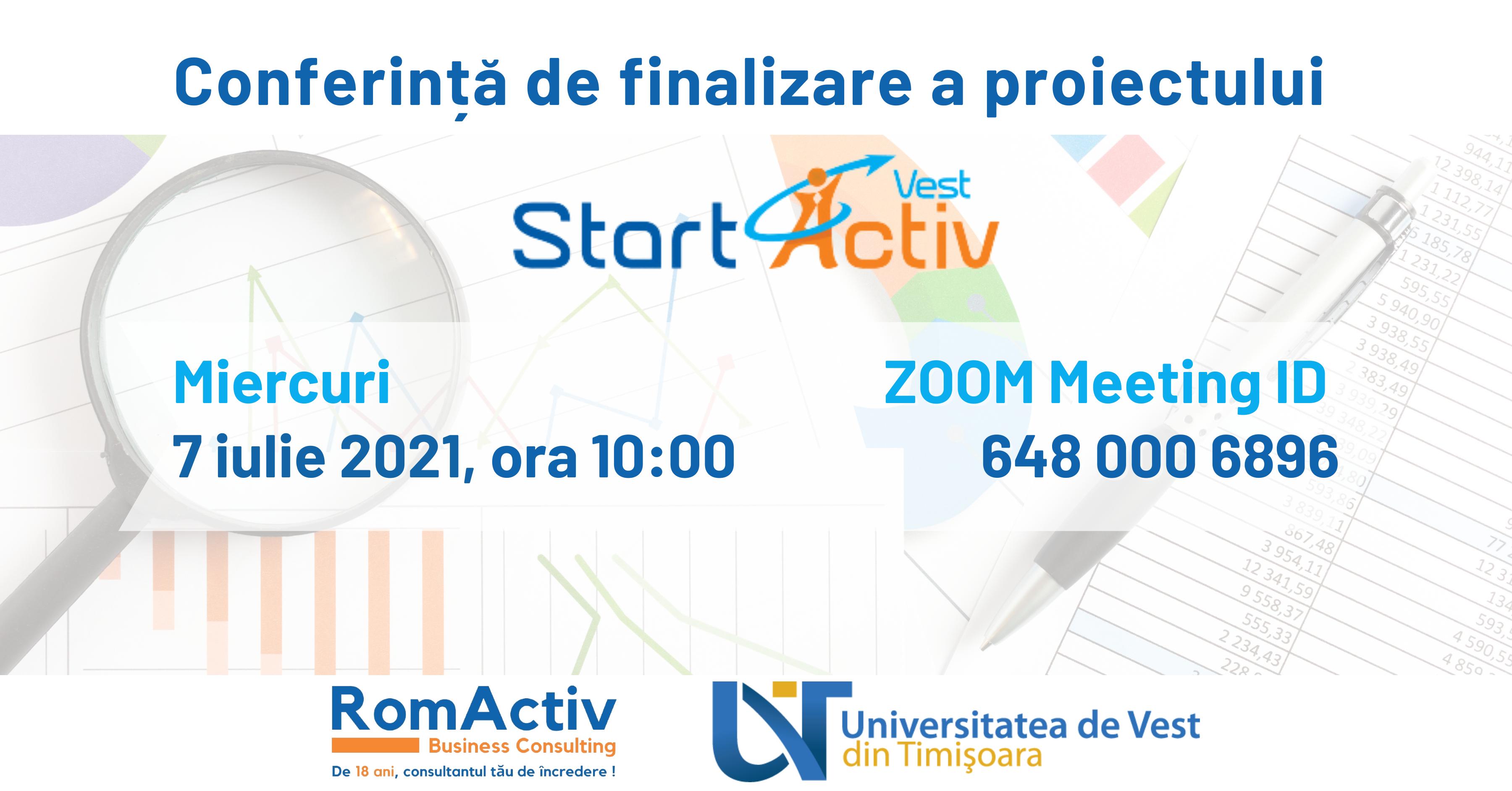 Conferinta De Finalizare A Proiectului StartActiv Vest